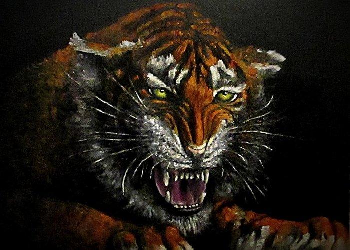 Animal Greeting Card featuring the painting Tiger-1 original oil painting by Natalja Picugina