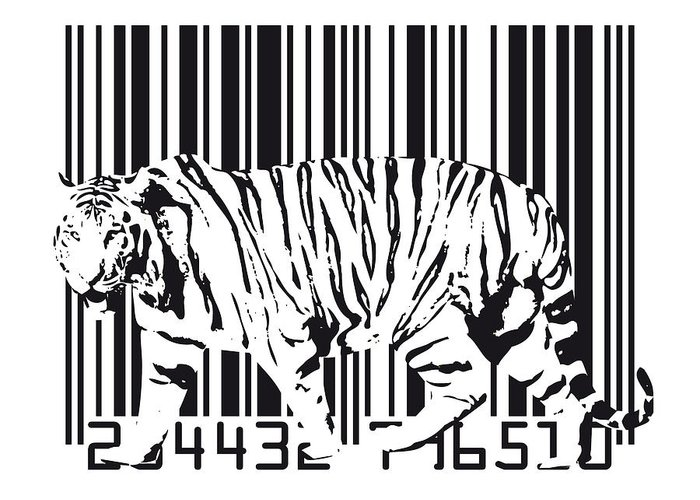 Tiger Greeting Card featuring the digital art Tiger Barcode by Michael Tompsett