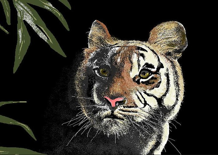 Tiger Greeting Card featuring the digital art Tiger by Carole Boyd