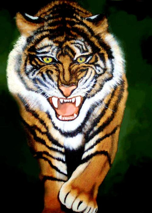 Tiger Greeting Card featuring the painting Tiger Charging by Darlene Green