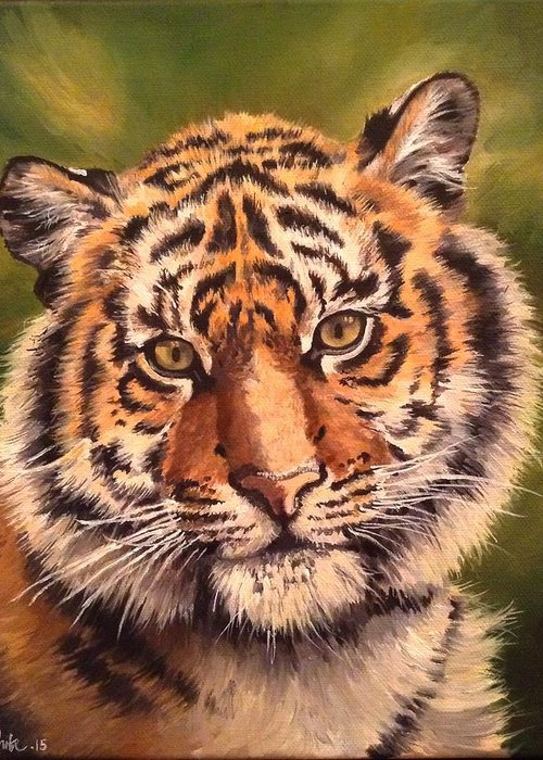 Tiger Greeting Card featuring the painting Tiger Cub by Art By Three Sarah Rebekah Rachel White