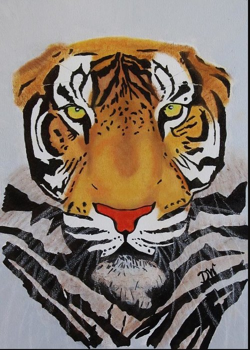 Tiger Greeting Card featuring the painting Tiger by Donna Wilson