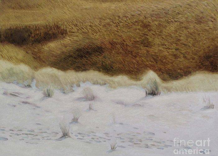 Nida Greeting Card featuring the painting Tiger Dune by Raimonda Jatkeviciute-Kasparaviciene