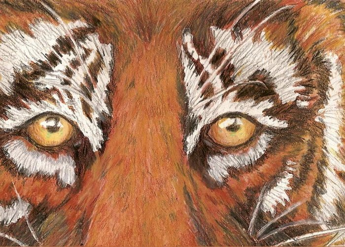 Tiger Greeting Card featuring the painting Tiger Eyes 2 by Patricia R Moore