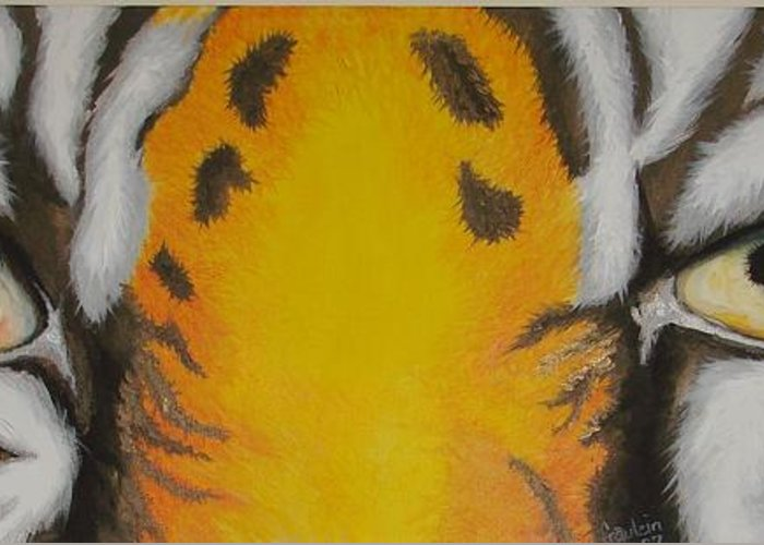 Tiger Greeting Card featuring the painting Tiger Eyes by Glory Fraulein Wolfe