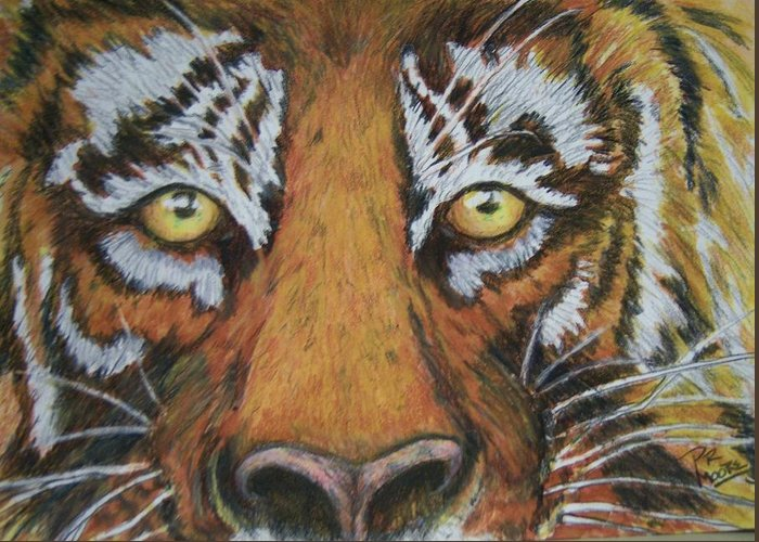 Wildlife Greeting Card featuring the painting Tiger Eyes by Patricia R Moore