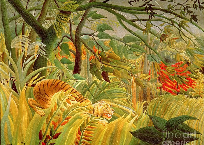Tiger Greeting Card featuring the painting Tiger In A Tropical Storm by Henri Rousseau