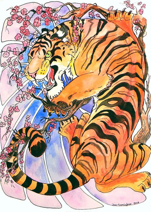 Tiger Greeting Card featuring the painting Tiger In Cherries by Jenn Cunningham