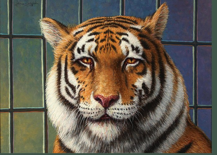 Tiger Greeting Card featuring the painting Tiger In Trouble by James W Johnson