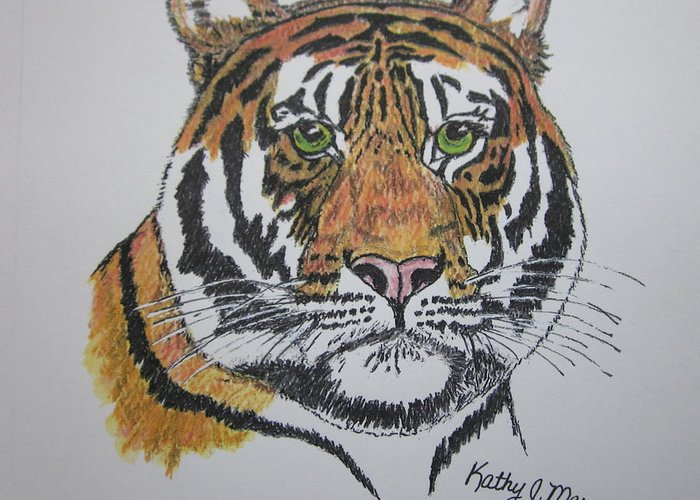 Bengal Greeting Card featuring the painting Tiger by Kathy Marrs Chandler