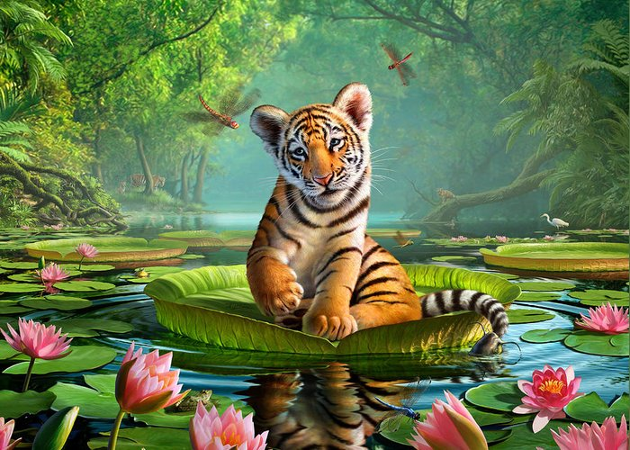 Tiger Greeting Card featuring the painting Tiger Lily by Jerry LoFaro