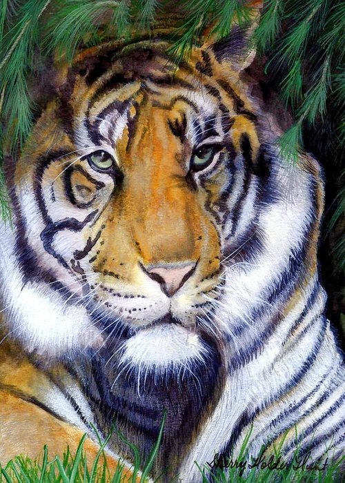 Tiger Greeting Card featuring the painting Tiger Painting by Sherry Holder Hunt