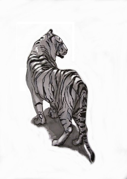 Tiger Greeting Card featuring the digital art Tiger Pose by Alfredo Lozano