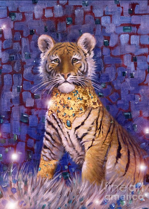 Young Tiger Greeting Card featuring the painting Tiger Royal by Silvia Duran