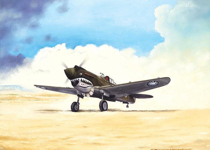 Aviation Greeting Card featuring the painting Tiger Scramble by Marc Stewart