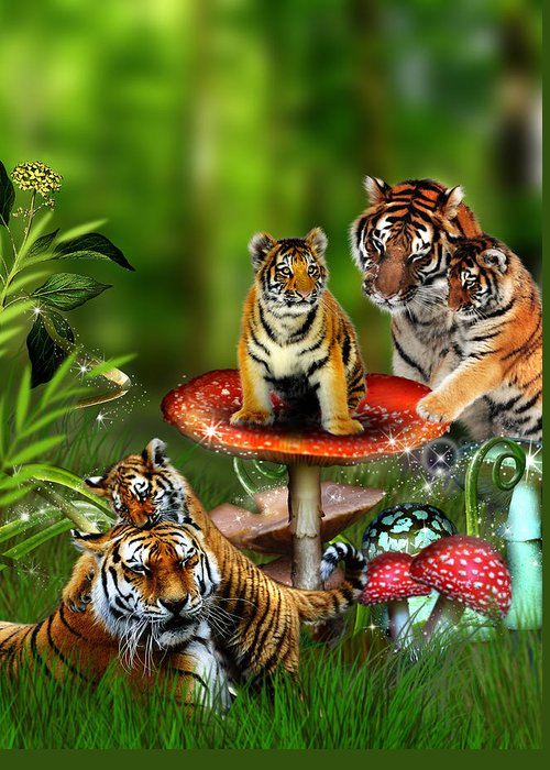 Tiger Greeting Card featuring the photograph Tiger Toadstools by Julie L Hoddinott