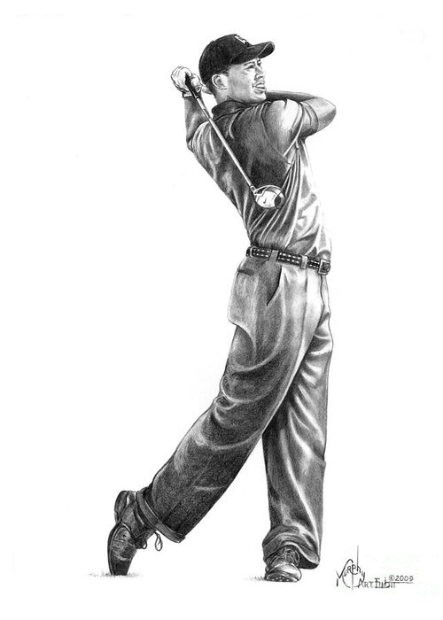 Tiger Woods Greeting Card featuring the drawing Tiger Woods Full Swing by Murphy Elliott
