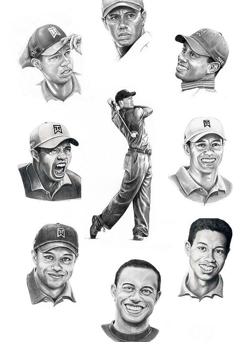 Tiger Woods Greeting Card featuring the drawing Tiger Woods-murphy Elliott by Murphy Elliott