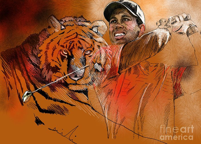 Golf Art Painting Portrait Tiger Woods Aninla Tiger Greeting Card featuring the painting Tiger Woods Or Earn Your Stripes by Miki De Goodaboom