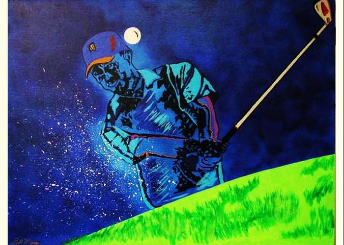 Tiger Woods Paintings Greeting Card featuring the painting Tiger Woods-playing In The Sandbox by Bill Manson