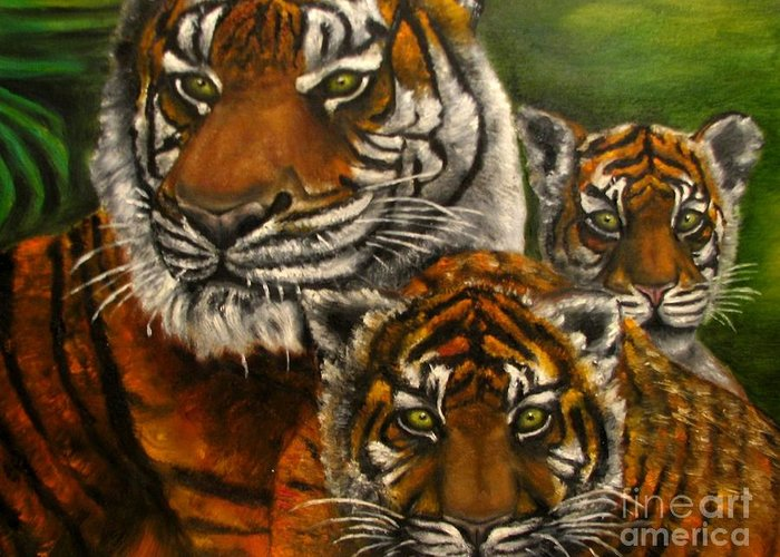Animals Greeting Card featuring the painting Tigers Family Oil Painting by Natalja Picugina