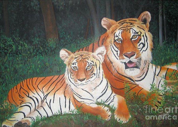 Wild Animals Greeting Card featuring the painting Tigers by Usha Rai