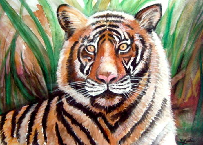 Tiger Greeting Card featuring the painting Tigger by L Lauter