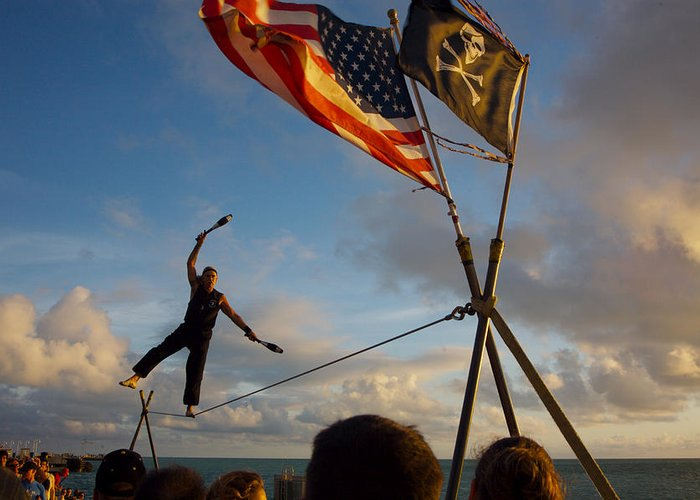 Balance Greeting Card featuring the photograph Tight Rope Walker In Key West by Carl Purcell