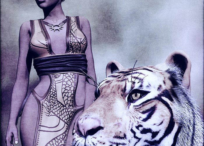 Digital Art Greeting Card featuring the painting Tigress by Maynard Ellis