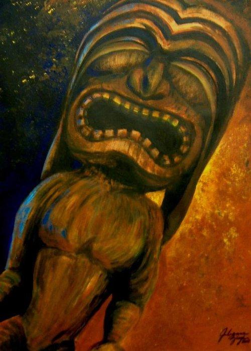 Tiki Greeting Card featuring the painting Tiki II by Julianna Ziegler