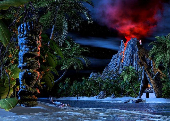Tiki Greeting Card featuring the digital art Tiki Jungle by Alex George