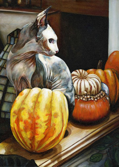 This Hairless Cat Seemed To Constantly Pose With These Gourds While I Stayed With My Friend Tim At His House On A Key In Florida. The Skin Colors On This Animal Were Incrediable. The Gourds Gave Me The Same Felling. Greeting Card featuring the painting Tim Cat Fluffy Number Onew by Leo Malboeuf