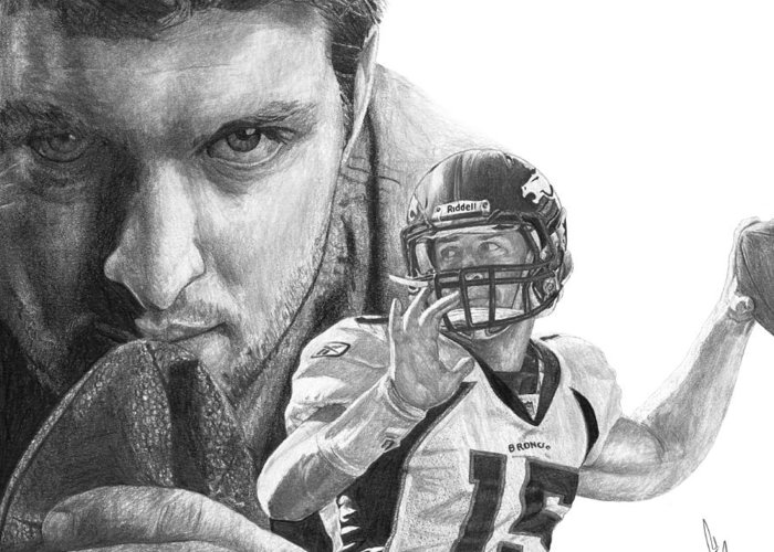 Tim Tebow Greeting Card featuring the drawing Tim Tebow by Bobby Shaw