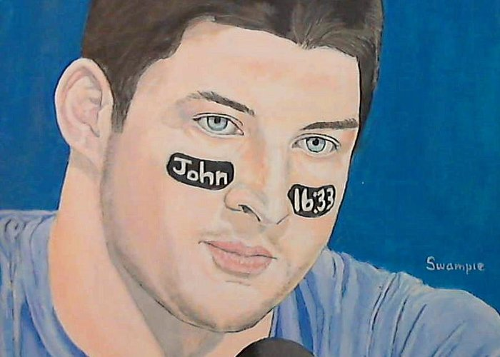 Portrait Greeting Card featuring the painting Tim Tebow by Richard Retey