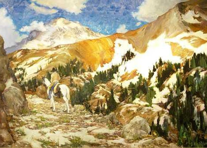Mountains Greeting Card featuring the painting Timberline by Ed Slack