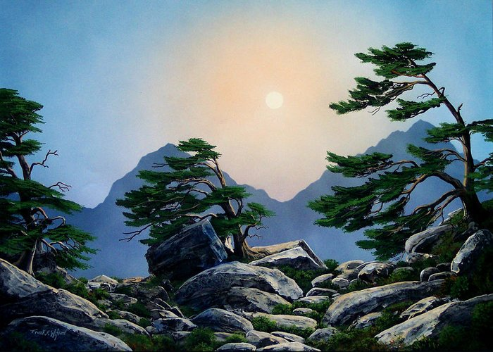 Timberline Guardians Greeting Card featuring the painting Timberline Guardians by Frank Wilson