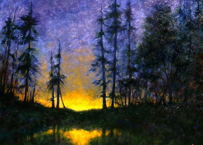 Landscape. Nocturn Greeting Card featuring the painting Timberline by Jim Gola