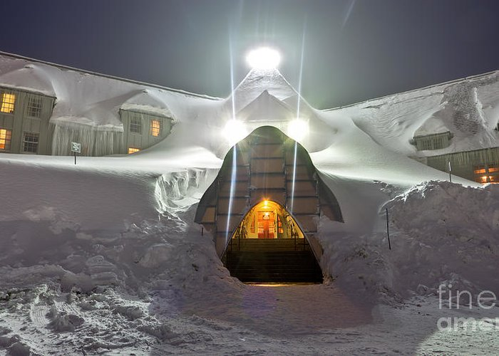 Timberline Lodge Greeting Card featuring the photograph Timberline Lodge Entry Mt Hood Snowdrifts by Dustin K Ryan