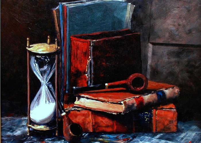 Still Life Painting Greeting Card featuring the painting Time and Old Friends by Jim Gola