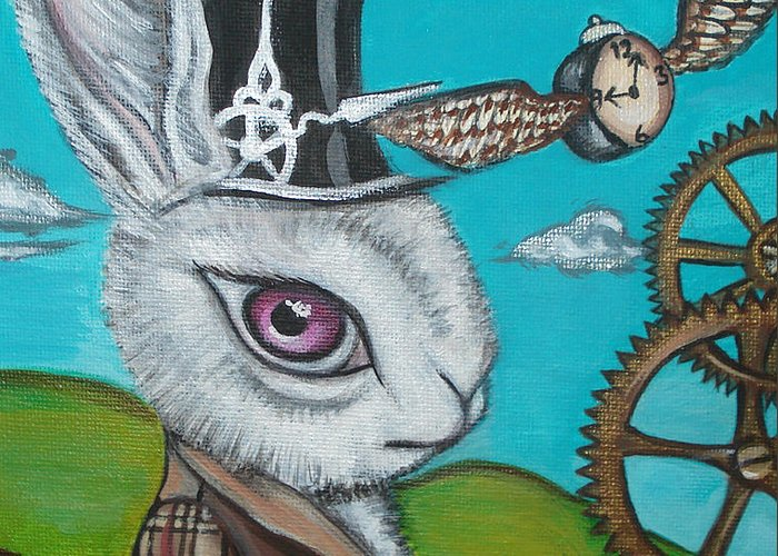 Alice In Wonderland Greeting Card featuring the painting Time Flies For The White Rabbit by Jaz Higgins