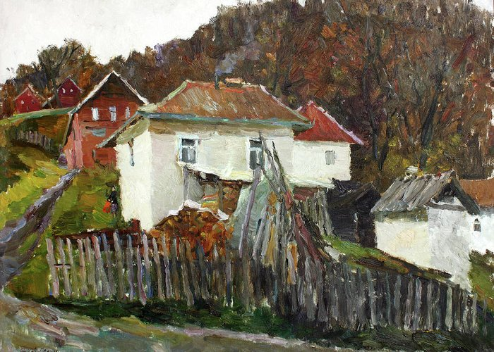 Plein Air Greeting Card featuring the painting Time For Use The Stove. November In The Serbia. by Juliya Zhukova