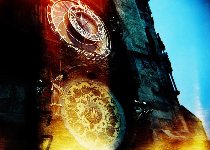 Clock Time Holga Color Photograph Praha Greeting Card featuring the photograph Time Is Burning by Olivier De Rycke