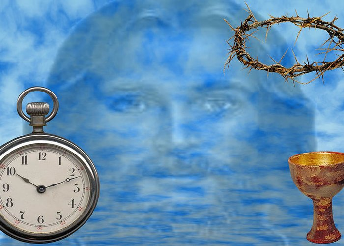 Christian Art Greeting Card featuring the digital art Time Is Ticking by Evelyn Patrick