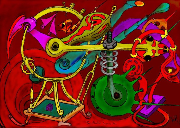 Impossible Greeting Card featuring the digital art Time Machine by Helmut Rottler