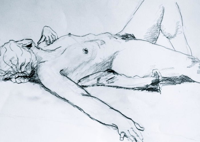Female Nude Greeting Card featuring the painting Time Out by Dan Earle