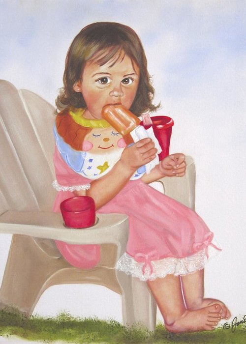 Child Greeting Card featuring the painting Time Out For Ice Cream by Joni McPherson