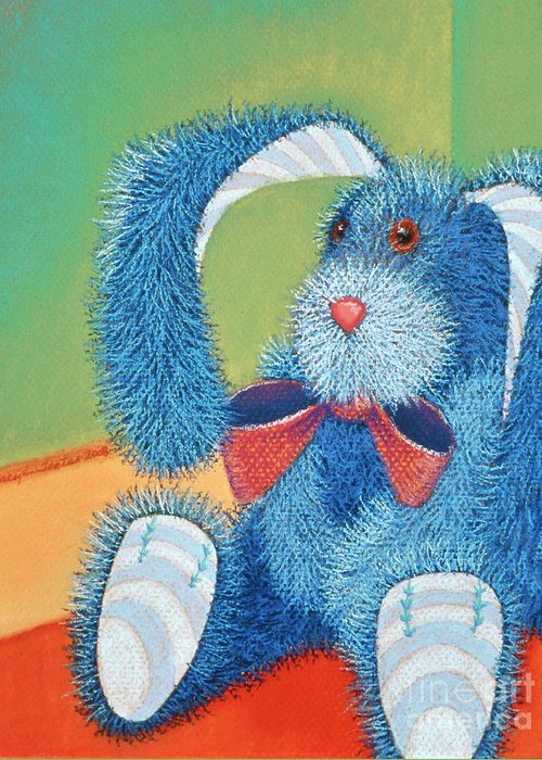 Rabbit Greeting Card featuring the pastel Time Out by Tracy L Teeter
