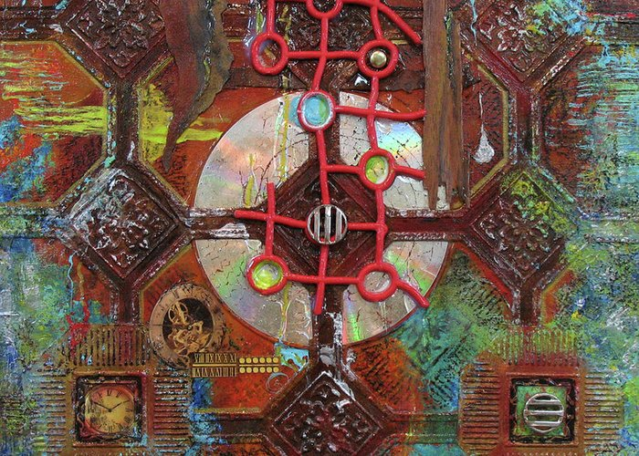 Assemblage Painting Greeting Card featuring the painting Time Passage II by Elaine Booth-Kallweit