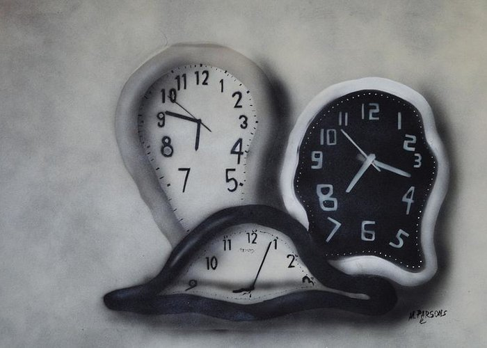 Clocks Greeting Card featuring the painting Time Slipping Away by Mike Parsons