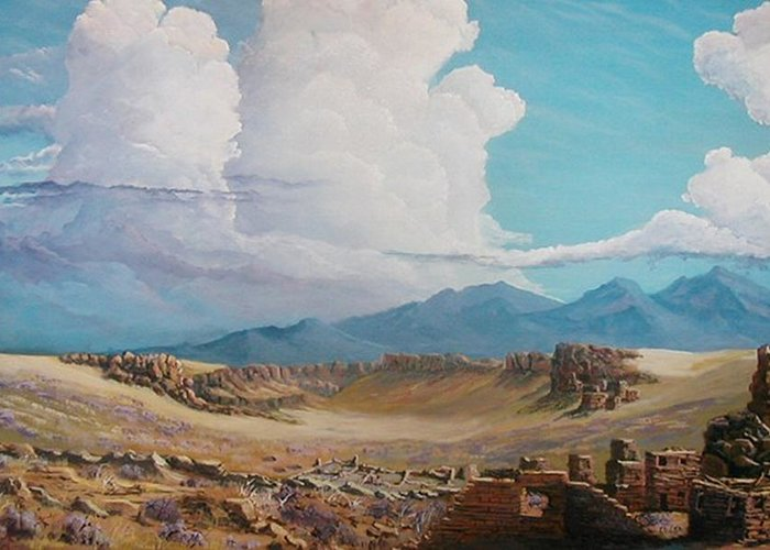 Landscape Greeting Card featuring the painting Time Stands Still by John Wise